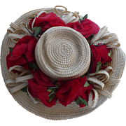 Straw Hat with Poppies by Sally Victor