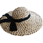 Wide Rim Woven Straw Hat with Velvet Bow