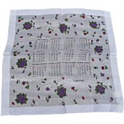 1981 Calendar Handkerchief