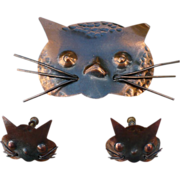 Copper Cat Pin & Earrings