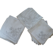SOLD Group Chinese Embroidery Handkerchiefs