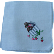 SOLD Poodle Embroidered Handkerchief