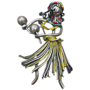 Sterling Hula Girl Pin