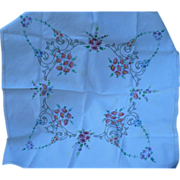Embroidered Floral Tablecloth