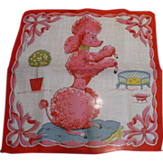 SOLD Red Poodle Handkerchief
