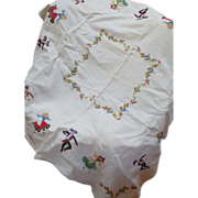 Embroidered Folk Dancers Tablecloth