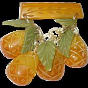 Bakelite Dangling Pineapple Pin