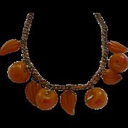 Bakelite Yellow Cherry Necklace