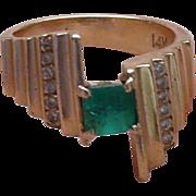 SALE 14K Emerald Diamond Ring