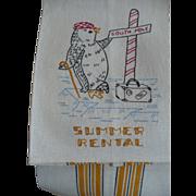 Penguin Embroidered Summer Rental Towel