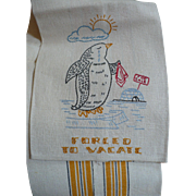 Penguin Embroidered Towel
