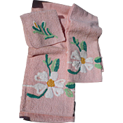 Vintage Terry Floral Towels