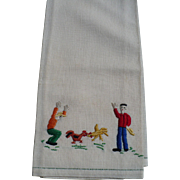 Chicken Fight Embroidered Towel