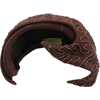 SALE Beaded Brown Hat