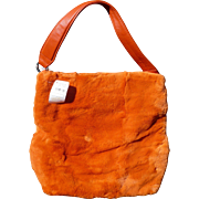 Orange Fur Purse