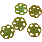 Five Green Bakelite Buttons