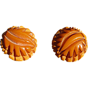 Cast Carved Bakelite Earrings