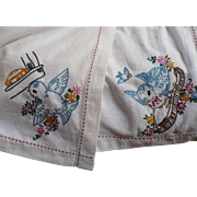Embroidered Bluebird Tablecloth