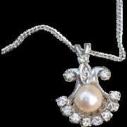 14K Diamond Pearl Pendant