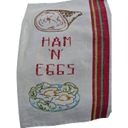 Ham Eggs Embroidered  Towel