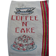 Coffee Cake Embroidered Towel