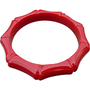 Red Bakelite Bamboo Carved Bracelet