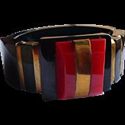 Black Red Bakelite Hinge Bracelet