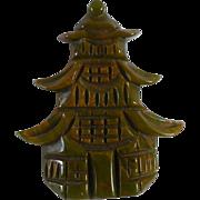 Carved Bakelite Pagoda Pin