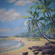 Vintage Hawaiian Oil Painting Kaawa Beach by Hironaka