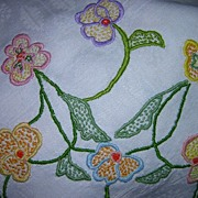 Hand Embroidered Patterned Tablecloth