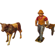 SOLD Vintage French Lead Farmer with Cart and Cow Toys