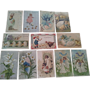 Twelve Antique Easter Postcards Printed in Germany