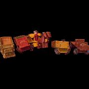 Vintage Putz Erzgebirge Toy Trucks and Horse with Cart