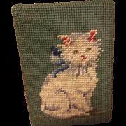 Vintage Kitten Needlepoint Door Stop