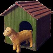 Vintage German Putz Dog with Cast Iron House