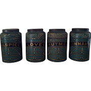 SOLD Very Nice Old Spice Tins for Primitive Cupboard