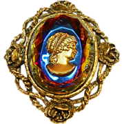 REDUCED Unsigned Rainbow Intaglio Cameo in Rosette Frame circa 60
