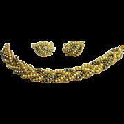Signed Trifari Gold Tone Creamy White & Grey Imitation Pearl Bracelet & Earring Set c. 50