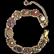 Signed Goldette Victorian Revival Slide Bracelet circa 1960