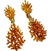 REDUCED Signed Panetta Gold Tone Sea Urchin - Nugget Drop Earrings circa 1970