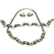 Signed Engel Brothers Sterling Clear Rhinestone Necklace, Bracelet & Earring Set circa 1950