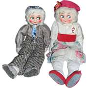 SALE Delightful Pair of Googly Eyed German Cloth Dolls