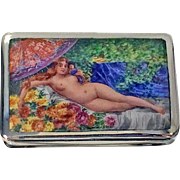 Enamel and Silver Erotic Nude Box, Continental C.1920.