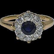Antique 18K Sapphire and Diamond Ring, English C.1910.