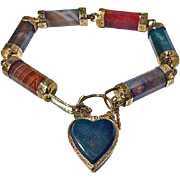 Scottish Gold Agate padlock bracelet with engraved links, C.1875.