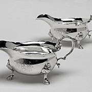 George 11 Silver Sauceboats, London 1739, Thomas Farren.