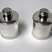 Pair Antique Victorian tankard peppers, London 1885