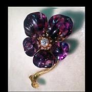 SALE French Carved Amethyst Diamond Flower Brooch C.1880