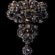 SALE 18th century Georgian Emerald Diamond Brooch, Portugal or Spain C.1780