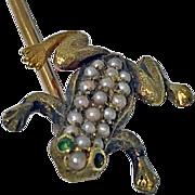 SOLD Antique 18K Frog Stickpin, C.1890